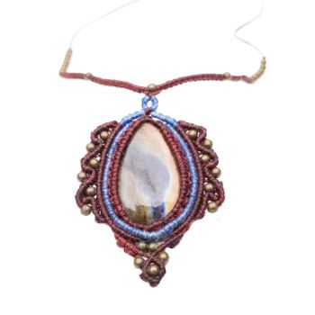 """Macrame necklace """"Favorite"""" with labradorite cabochone and antique beads"""