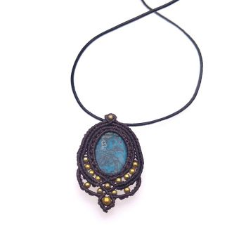 "Blue & Black Brown Macrame pendant ""Dark Sky"" with agate stone and gold beads"