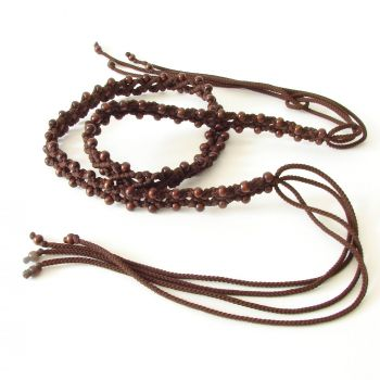 "Dark brown belt with wooden beads ""Cacao Beans"""