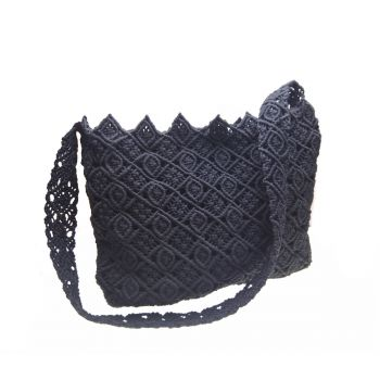 "Big black macrame bag ""Diamond"""