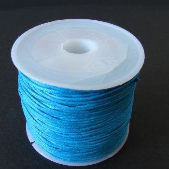 Blue Cotton Wax Cord 1mm (25m/roll)