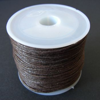 Dark Brown Cotton Wax Cord 1mm (25m/roll)