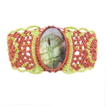 "Orange & Green Macrame Bracelet ""Waffles"" with labradorite cabochon"