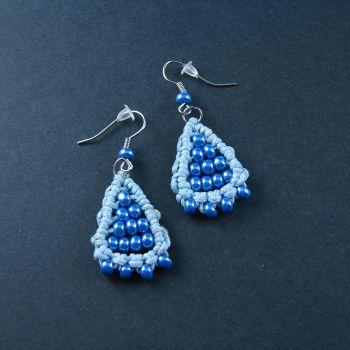 "Blue Macrame Earrings ""Blue Petals"""
