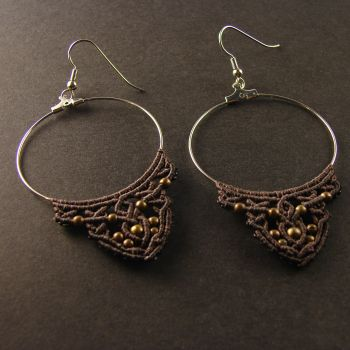 "Brown Macrame Earrings ""Hot Chocolate"" with antique beads"
