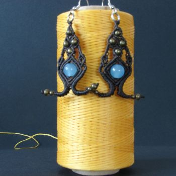 "Stylish Dark chocolate macrame earrings ""Eyes of Ann"""