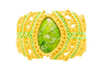 """Asymmetric Yellow - Green Bracelet with cabochon """"Colours of the Summer"""""""