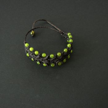 Brown Macrame  Bracelet 'Green Tree' with Agate beads