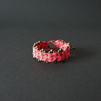 """Pink & Red Macrame Bracelet """"Pink Ponies"""" with copper beads"""