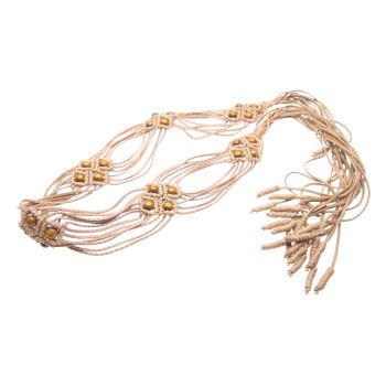 """Beige Leather belt wooden beads """"Mystery of nature"""""""