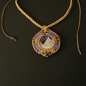 "Beige & Purple Macrame Necklace ""Alpine rock"" with Amethyst flat stone and beads"