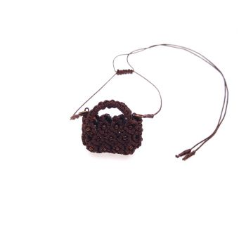 "Dark brown macrame pendant ""Choco bag"" with seed  beads"