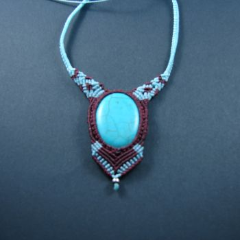 """Blue & brown macrame pendant """"Fancy Turquoise"""" with metal  beads"""
