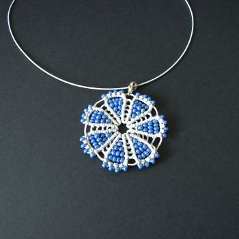 "Light blue pendant ""Cornflowers miracle"" decorated by beads"