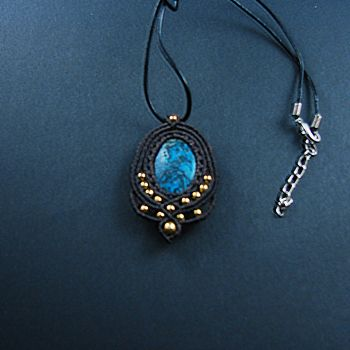 """Blue & Black Brown Macrame pendant """"Dark Sky"""" with agate stone and gold beads"""