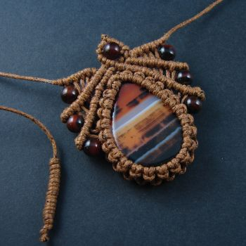 """Light brown macrame pendant """"Filbert"""" with agate cabochon and  beads"""