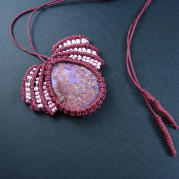 """Red macrame pendant """"Forest Fruit"""" with  cabochon"""