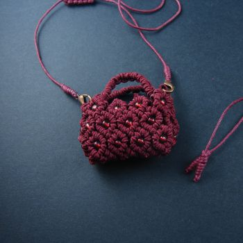 """Red macrame pendant """"Red bag"""" with seed  beads"""