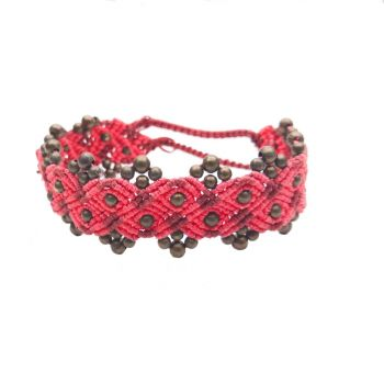 "Pink & Red Macrame Bracelet ""Pink Ponies"" with copper beads"