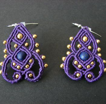 "Purple macrame earrings ""Purple Dreams"""