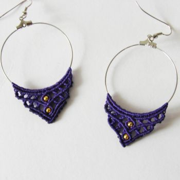 "Purple Macrame Earrings ""Lavender"" with gold beads"