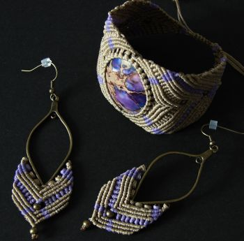 """Beige - Purple Set with Regalite Cabochon """"Mystery"""""""
