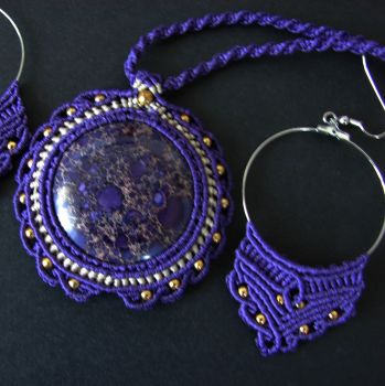 """Purple macrame set (necklace & earrings) """"Sirius"""" with regalite cabochon"""