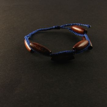 """Simple wave bracelet """"Simple Blue"""" with wooden beads"""