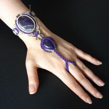 Amazing Purple Macrame Slave Bracelet 'Lilac' with Amethyst