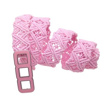 "Fancy pink macrame belt ""Pink Marshmallows"""