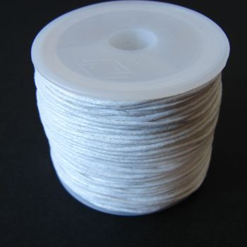 White Cotton Wax Cord 1mm (25m/roll)